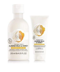 The Body Shop Almond Milk & Honey Shower Cream & Body Lotion Beauty Over 40