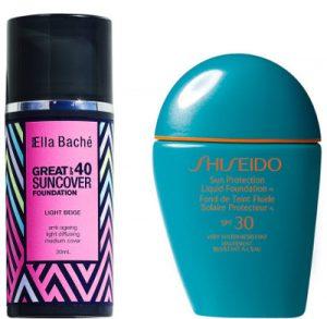 Ella Bache Great Suncover Foundation SPF 40 and Shiseido Liquid Foundation SPF 30 Beauty Over 40