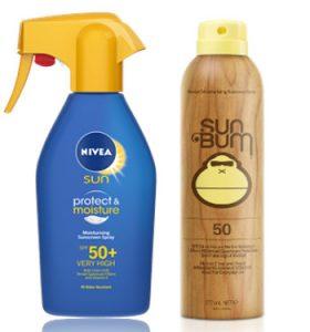 Nivea Sun Protect & Moisturise Sunscreen SPF 50+ & Sun Bum Sunscreen Spray SPF 50 Beauty Over 40