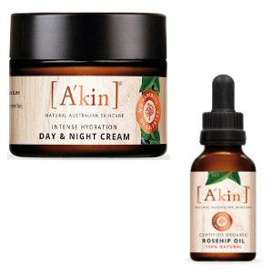 A'kin Sensitive Duo Intense Hydration Day & Night Cream and Certified Organic Rosehip Oil Beauty Over 40