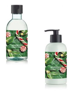 Christmas Home The Body Shop Peppermint Candy Cane Shower Gel & Body Lotion Beauty Over 40