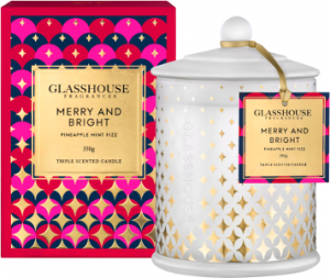 Glasshouse Fragrances Merry And Bright Pineapple FizzTriple Scented Candle Beauty Over 40